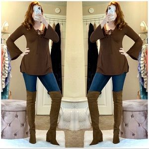 Fashion Shoes - New Brown Over The Knee Boots Heels Shoes sz 8